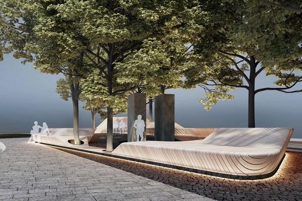 В Литовском сквере установят скамью-террасу с подсветкой
