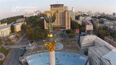 Монумент Независимости Украины с высоты птичьего полета