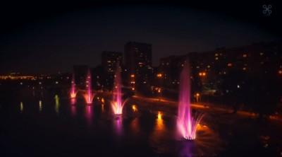 Киевские фонтаны на Русановке с высоты птичьего полета