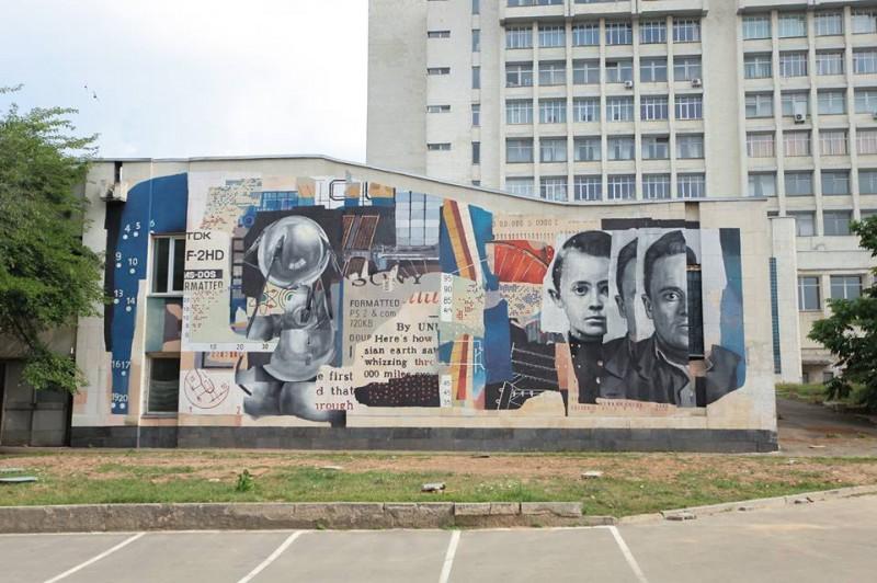 На стене корпуса КПИ нарисовали мурал с изображением академика Королева