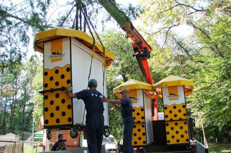 В Голосеевском парке начали демонтаж нелегальных киосков