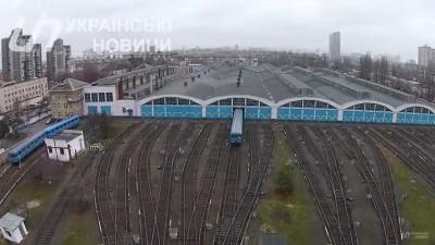 Депо поездов киевского метрополитена с воздуха